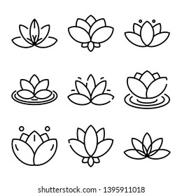 Lotus icons set. Outline set of lotus vector icons for web design isolated on white background