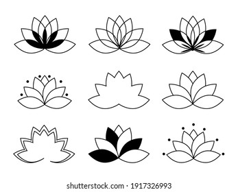 Lotus icons vector set. Graphic flowers isolated on white. Lotus logo symbol template. Geometric floral elements. Monochrome lotus collection.