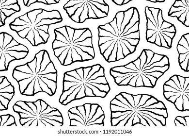 Lotus leafs seamless background on vector graphic art.