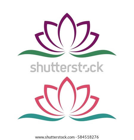 lotus lily flower logo template のベクター画像素材 ロイヤリティ