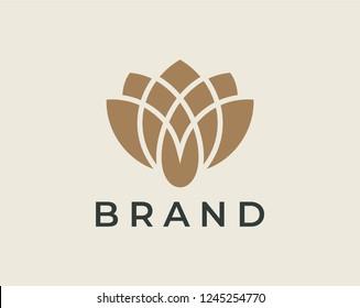 Lotus logo design concept. Elegant and luxury style.