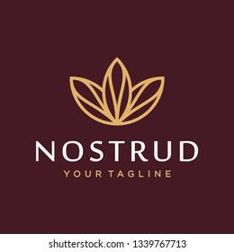Lotus logo design concept. universal lotus design. Elegant premium linear vector logotype symbol.