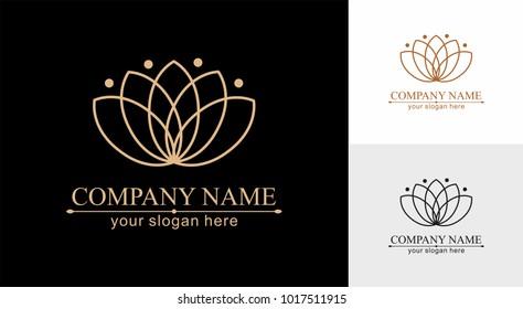 Lotus Logo. Flower icon abstract design vector template. Lotus SPA icon. Logo for Spa, massage, beauty salon, yoga, cosmetics, hotel, fashion.
