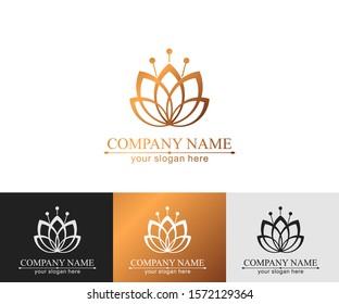Lotus Logo. Flower icon abstract design vector template business card. Lotus SPA icon. Logo for Spa, massage, beauty salon, yoga, cosmetics, hotel, fashion.