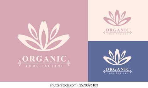 Lotus Logo. Organic. Flower icon abstract design vector template business card. Lotus SPA icon. Logo for Spa, massage, beauty salon, yoga, cosmetics, hotel, fashion.