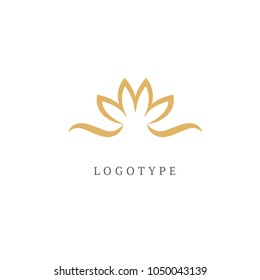 Lotus logo. Wedding icon. Luxury retro emblem. Cosmetics, Spa, Beauty salon, Decoration, Boutique vector logo. Royal Jewelry, Yoga, Premium Logo. Resort and Restaurant design illustration.