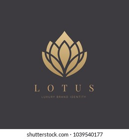 Lotus luxury logo template.
