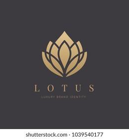 Lotus luxury logo template.