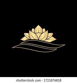 Lotus luxury logo template, petal logo plant floating in water, with gold gradient color, vector illustration.