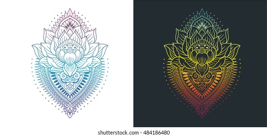 lotus and mandala colored outlines
