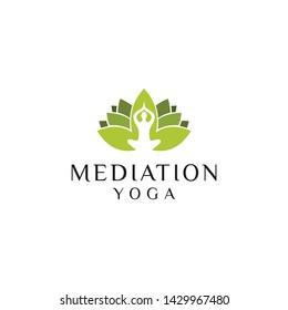 lotus mediation yoga people negative space logo illustration vector icon download