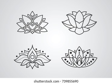 Lotus outline icons set. Inspiration graphic sign for logo. Vector illustration
