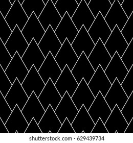 Lotus petals wallpaper. Asian traditional ornament with repeated scallops. Scales motif. Repeated white broken lines on black background. Seamless surface pattern design with triangular figures.