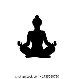Lotus position black silhouette. Wonam meditation vector illustration. Yoga and meditation concept