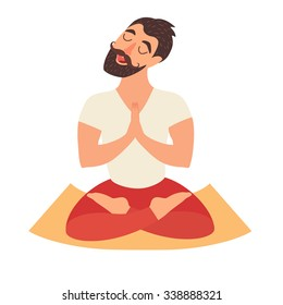 Lotus position man, yoga. Mustached bearded man, lotus position vector. Meditation yoga art, relax. Isolated illustration on white background. Design concept happiness, meditation