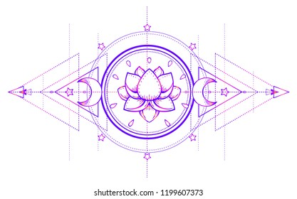 Lotus and Sacred Geometry. Ayurveda symbol of harmony and balance, and universe. Tattoo flesh design, yoga logo. Boho print, poster, t-shirt textile. Anti stress book. Isolated vector illustration.