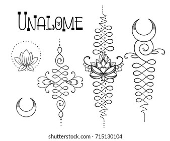 Lotus and Sacred Geometry. Unamole hindu symbol of wisdom and path to perfection. Set of tattoo flesh, yoga logo, Buddhism design. Boho print, poster, t-shirt textile. Isolated vector illustration set