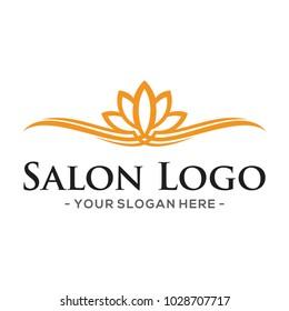 Lotus Salon and Hair Cut Logo Vector