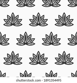 Lotus seamless pattern. Floral background. Oriental ornament. Vector black and white background.