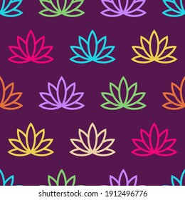 Lotus seamless pattern. Floral background. Oriental ornament. Vector colorful background.