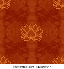 Lotus. Seamless pattern. Oriental Indian Chinese Traditional. Brown grunge background