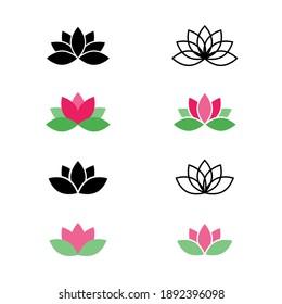 Lotus set icon, logo isolated on white background. Lotus flower icons. Set vectors lotus plant