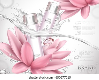 lotus skin toner ad contained in bottles, with extremely clean water and lotus flower elements, white background 3d illustration