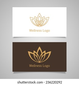 Lotus symbol icon. Vector floral label for Wellness industry