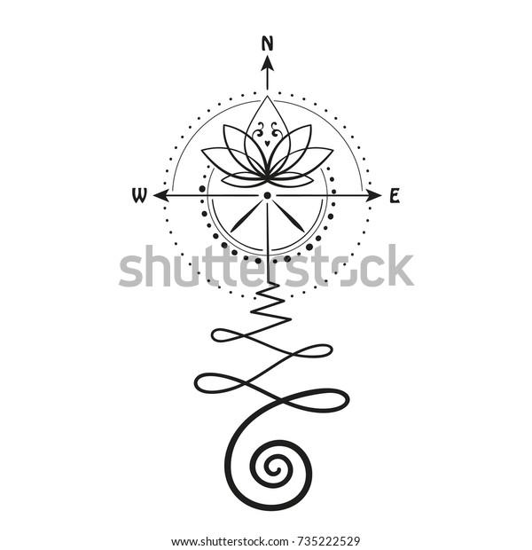Lotus Tattoo Compass Arrows Hand Drawn Stock Vector Royalty Free