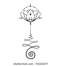 Lotus tattoo hand drawn isolated vector ornament, Unalome sacred geometry symbol of wisdom and enlightenment