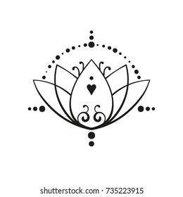 Lotus tattoo hand drawn isolated vector ornament, Buddhism sacred geometry symbol of wisdom, love and enlightenment