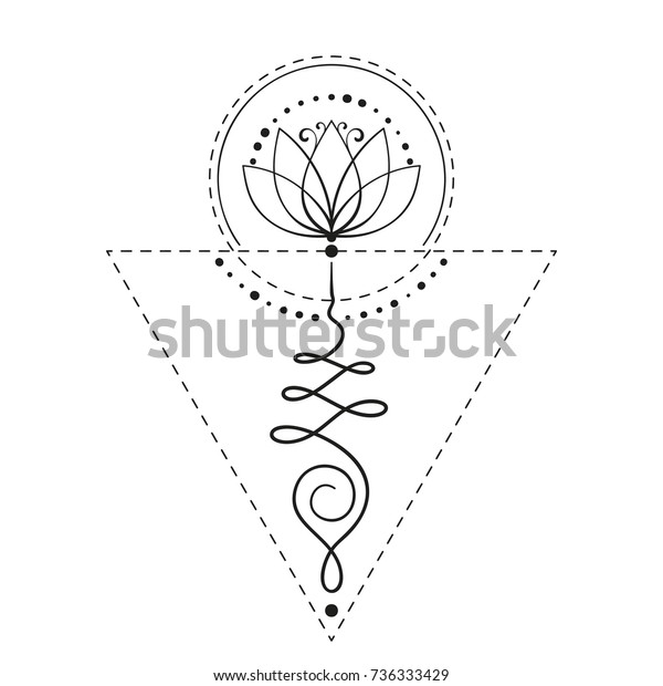 Lotus Tattoo Unalome Sacred Geometry Symbol Stock Vector Royalty