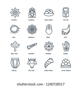 Lotus temple, Conch shell, Sac cow, Tablas, Karma, Chakra, Devi, Bael tree, Bindi outline vector icons from 16 set