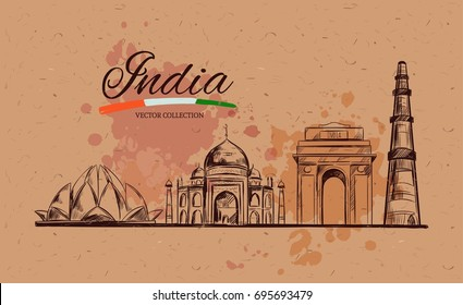 Lotus temple. Taj Mahal. Gate of India. Kutb-Minar. The Heritage of India. Vector hand drawn illustration. Sketch style. Concept. Template
