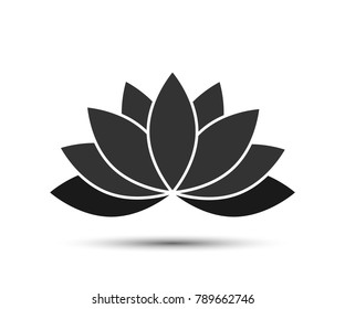 Lotus - Vector icon. Lotus black color with shadow