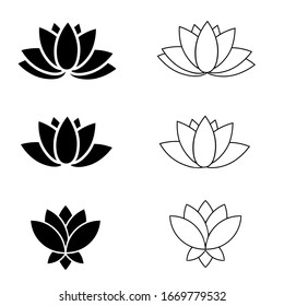Lotus vector icon set. Harmony illustration sign collection. flower logo. yoga symbol.