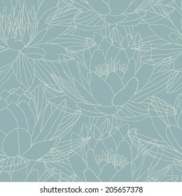 Lotus and water lily flowers in seamless pattern. Vector