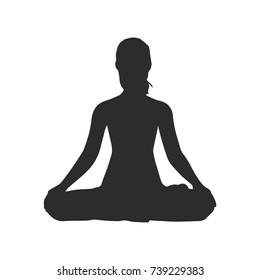 Lotus Yoga pose silhouette isolated on white.