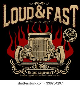 loud and fast racing equipment,hotrods car,old school car,vintage car