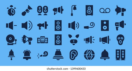 loud icon set. 32 filled loud icons. on blue background style Collection Of - Alarm, Volume, Alarm bell, Bell, Horn, Audio, Megaphone, Loudspeaker, Whistle, Subwoofer, Woofer