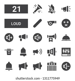 loud icon set. Collection of 21 filled loud icons included Reduce volume, Amplifier, Megaphone, Bell, Levels, Filter, Vuvuzela, Volume adjustment, Volume up, Muted, Whistle, Level