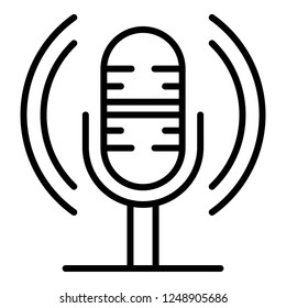 Loud microphone icon. Outline loud microphone vector icon for web design isolated on white background