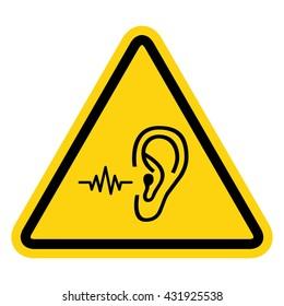 Loud noise hazard symbol . Vector illustration
