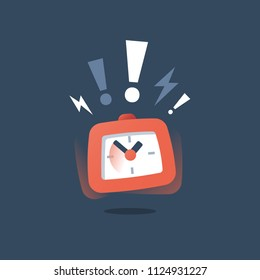 Loud ringing red alarm clock in motion, deadline concept, last minute chance, time period ending, limited offer, fast service, urgent delivery, task management, intensive course, vector icon