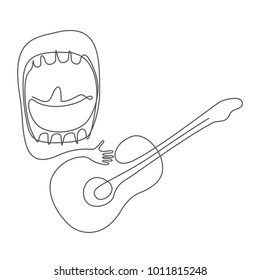 loud singing - big mouth guitarist - continuous line drawing