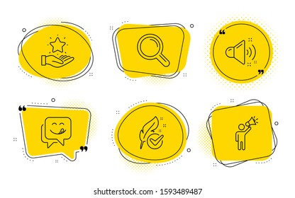 Loud sound, Research and Brand ambassador signs. Chat bubbles. Loyalty program, Yummy smile and Hypoallergenic tested line icons set. Bonus star, Emoticon, Feather. Music. Technology set. Vector
