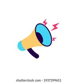 Loud speaker icon cartoon flat vector logo