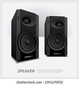 Loud Speakers isolated vector illustration