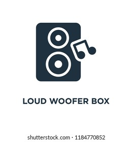 Loud Woofer Box icon. Black filled vector illustration. Loud Woofer Box symbol on white background. Can be used in web and mobile.