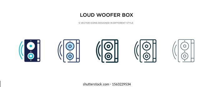 loud woofer box icon in different style vector illustration. two colored and black loud woofer box vector icons designed in filled, outline, line and stroke style can be used for web, mobile, ui